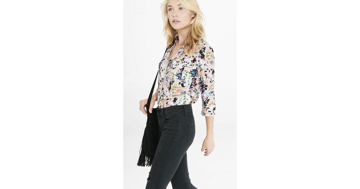 042e3830ec29 Lyst - Express Slim Fit Botanical Floral Print Portofino Shirt in Green