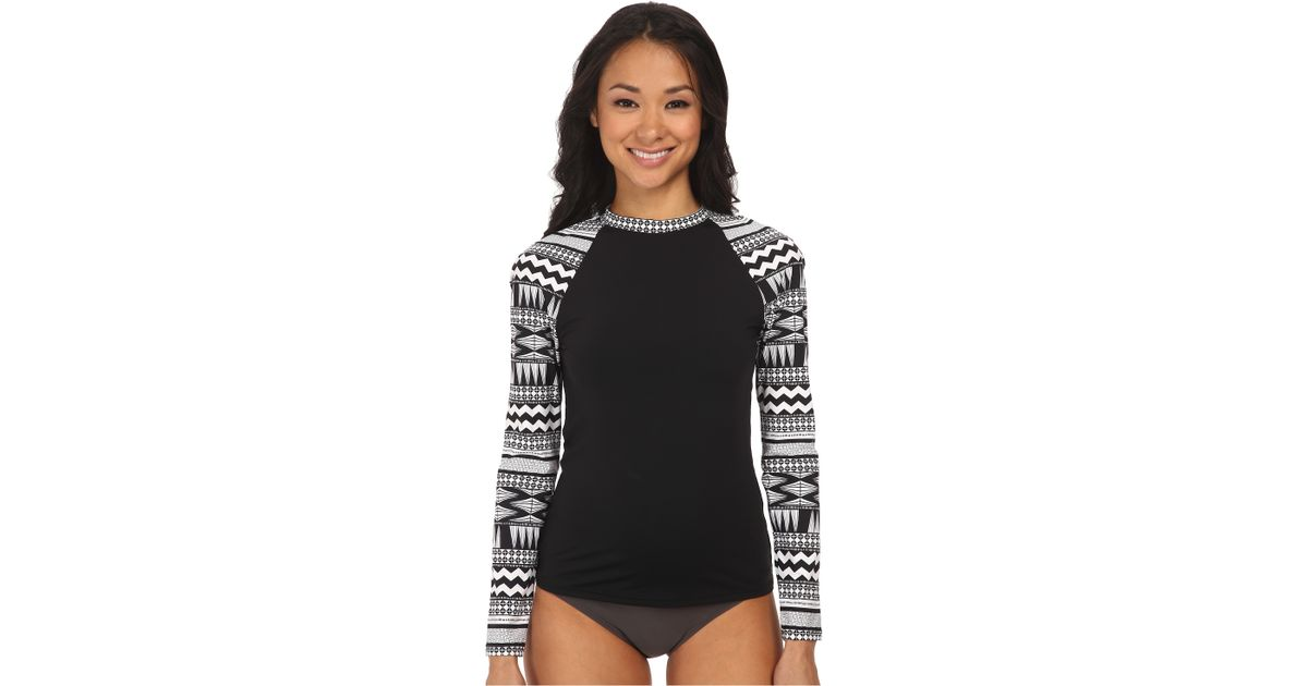 ab0797f8e4639 Seafolly Future Tribe Long Sleeve Sunvest in Black - Lyst