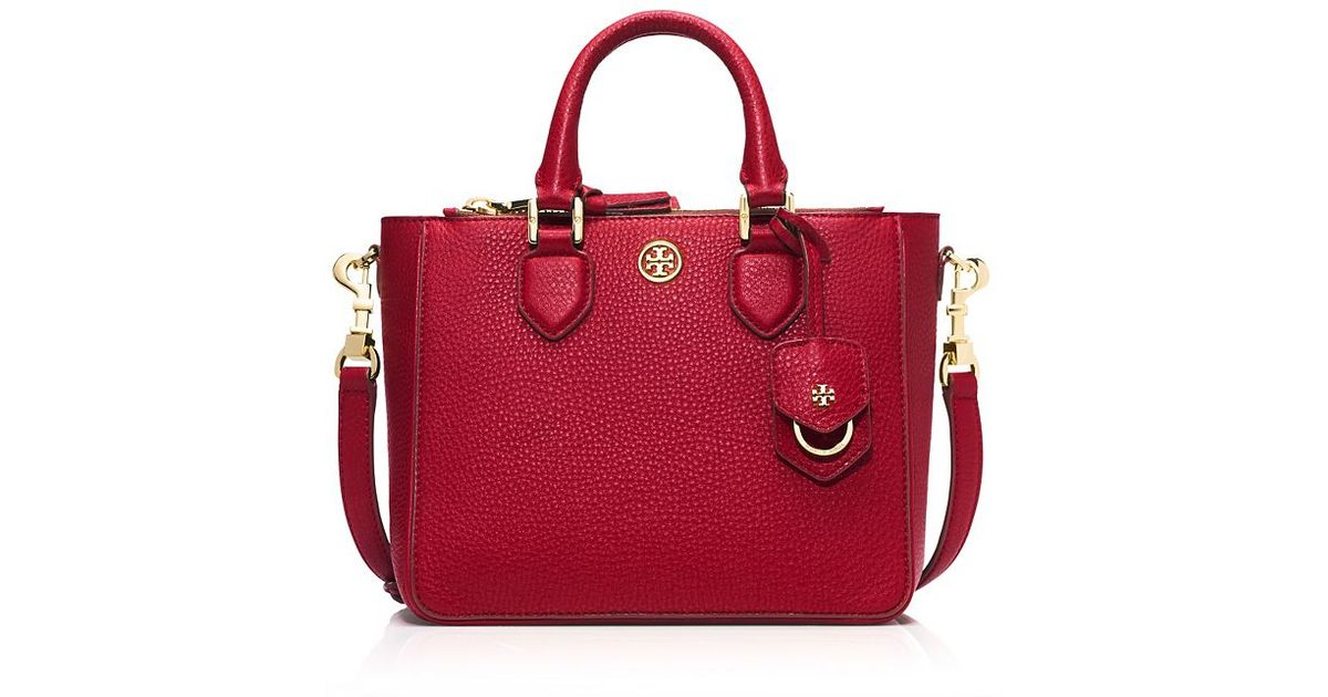 30bab3d284e Lyst - Tory Burch Robinson Pebbled Mini Square Tote in Red