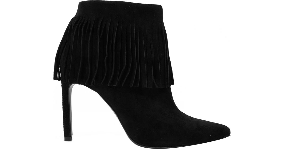 Stuart weitzman Black Fringe Time Suede Stiletto Ankle Boots in ...