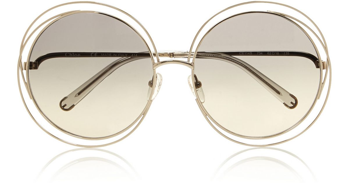 67bb1368a713 Chloé Carlina Oversized Round-Frame Stainless Steel Sunglasses in Gray -  Lyst
