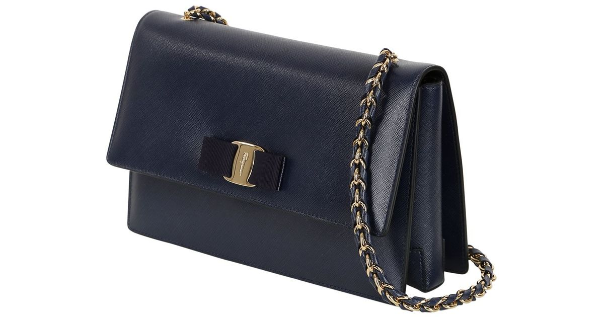 eed3d337dd43 Lyst - Ferragamo Medium Ginny Saffiano Leather Bag in Blue