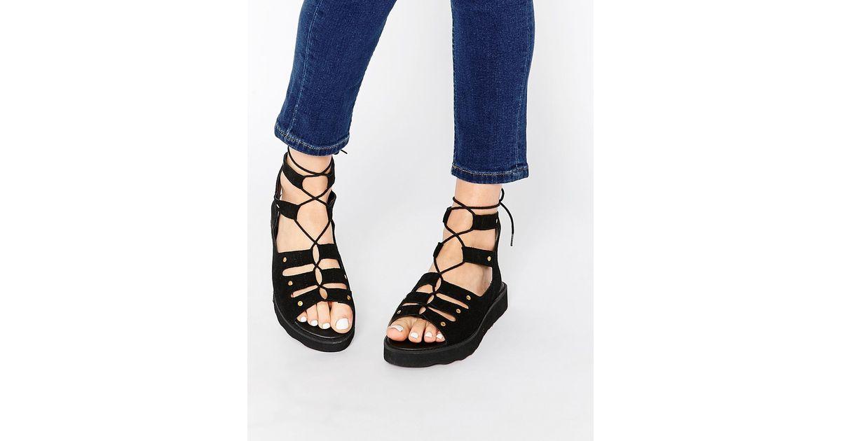 045af140f5d Lyst - Park Lane Chunky Gladiator Suede Flat Sandals - Black in Black