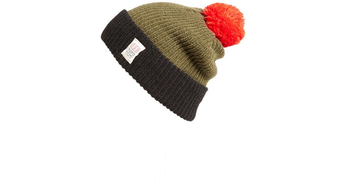 Lyst - Topo Designs Pom Beanie in Green for Men 072f4792319