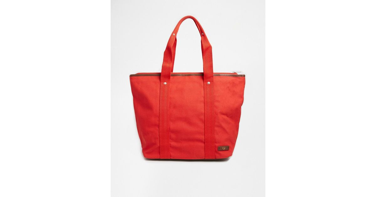 d0a2b3822be1 Lyst - Fred Perry Canvas Tote Bag With Zip Top in Red for Men