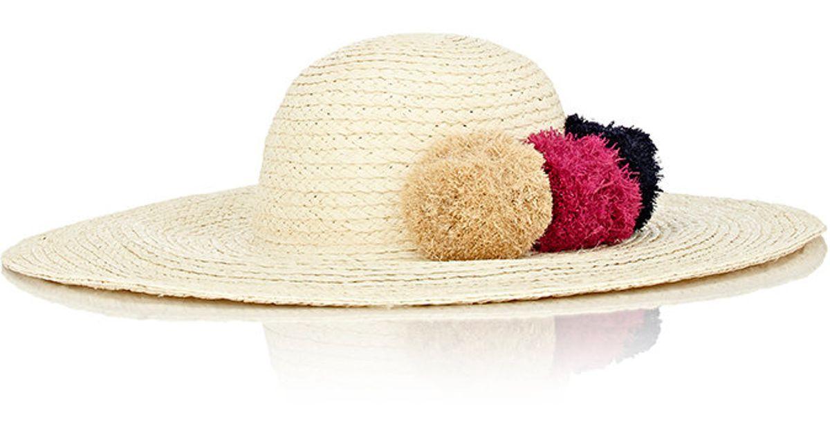 d24b1512e5e Barneys New York Women s Pom-pom-embellished Sun Hat - Lyst