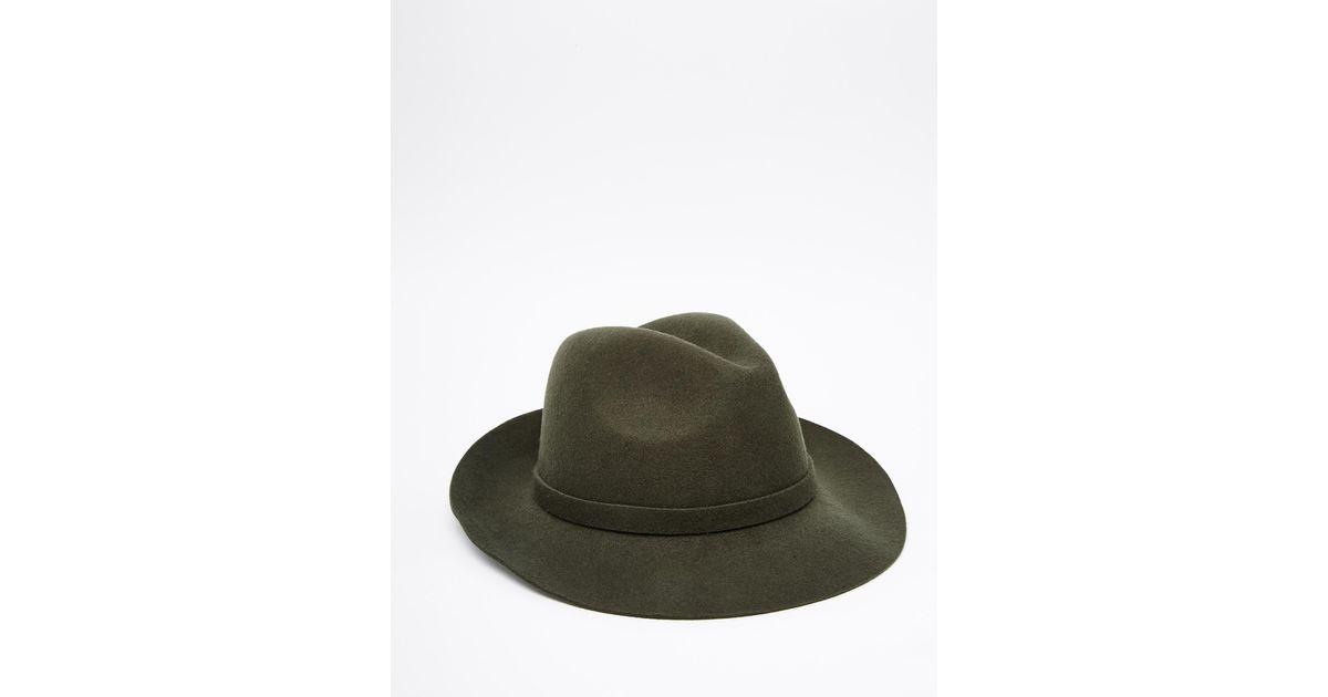 Lyst - ASOS Fedora Hat In Khaki Felt in Green for Men d7245002923