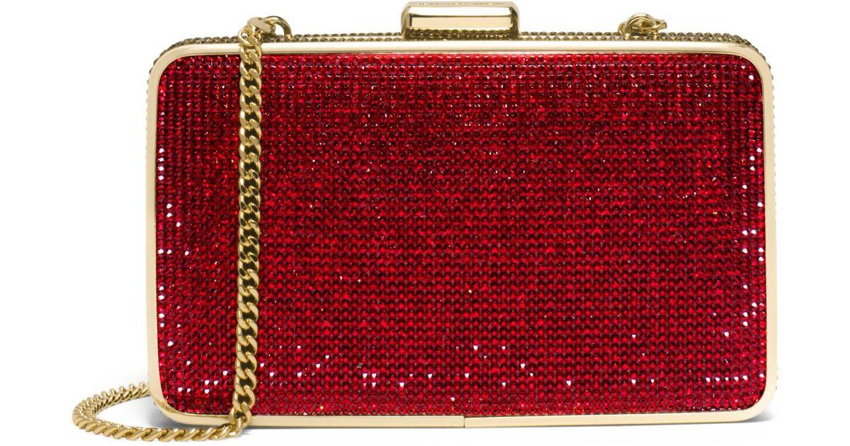 6c92df8e54ff Lyst - Michael Kors Elsie Crystal Clutch in Red
