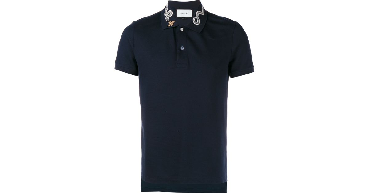 5c9a70af Gucci Snake And Bee Collar Polo Shirt in Blue for Men - Lyst