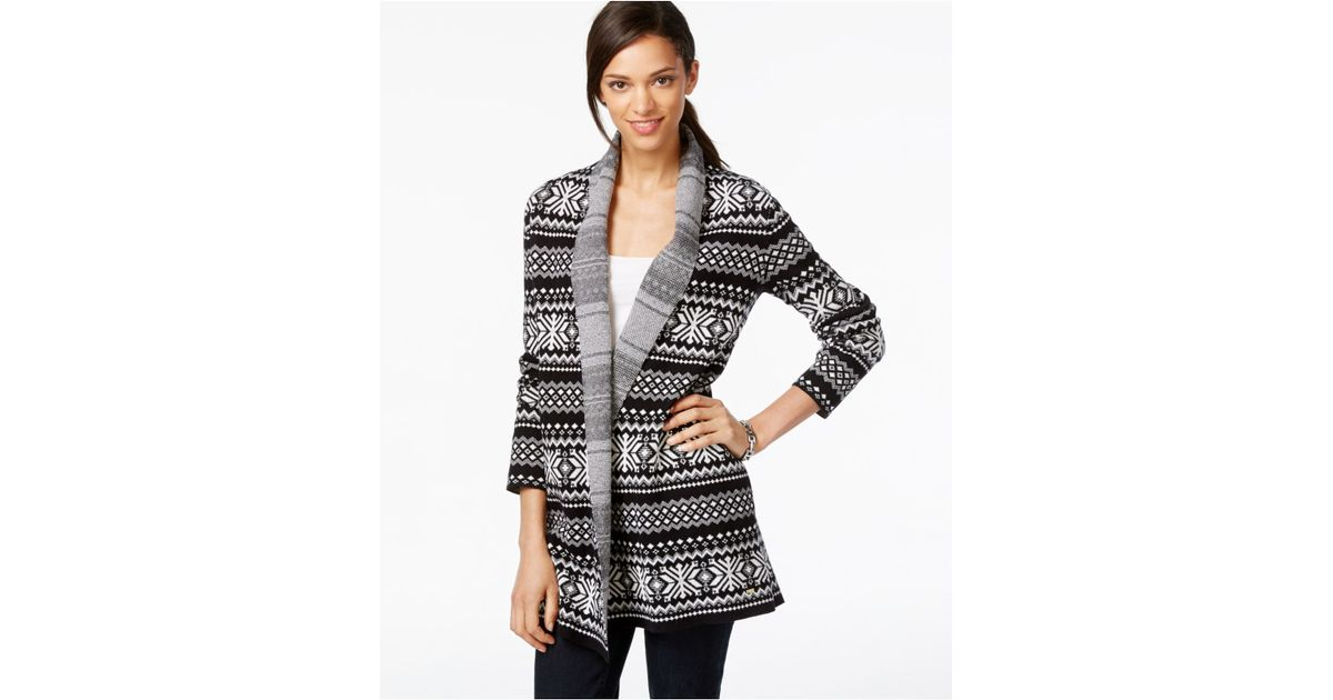 Tommy hilfiger Open-front Fairisle Printed Cardigan in Black   Lyst