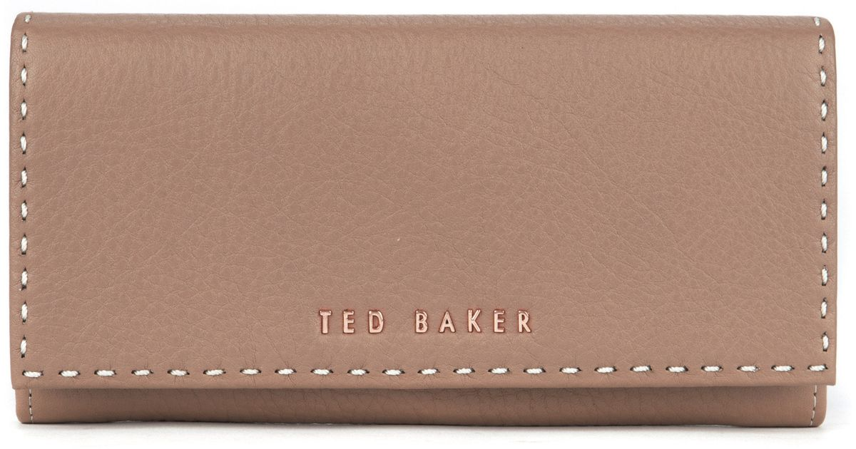 8be62004c Ted Baker Stab Stitch Leather Purse in Pink - Lyst
