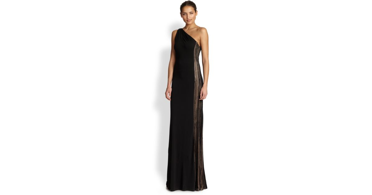 Lyst - David Meister Jersey One-Shoulder Illusion Gown in Black