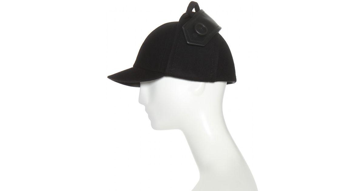 Lyst - Miu Miu Felted Wool And Leather Hat in Black cdaf9780942