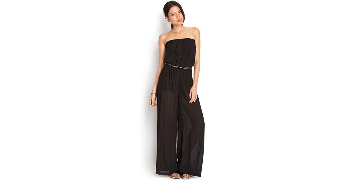 Lyst Forever 21 Sleek Wide Leg Jumpsuit In Black