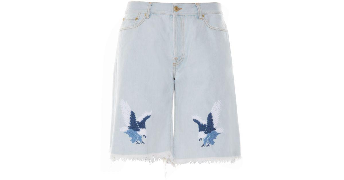 Off-white c/o virgil abloh Eagle-embroidered Denim Shorts in White ...