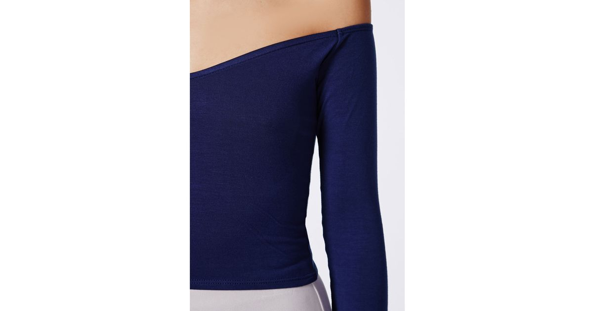 bacc1cee03921 Lyst - Missguided Carrisa Long Sleeve Jersey Bardot Crop Top Navy in Blue