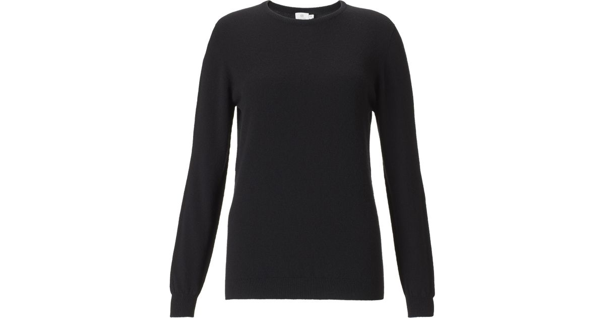 f9294ec8d3 Sunspel Women's Cashmere Crew Neck Jumper in Black - Lyst