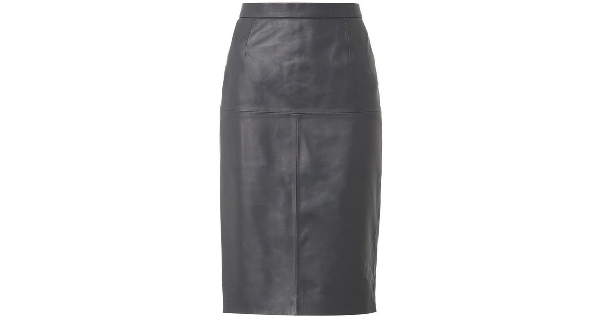 Freda Charcoal-grey Leather Pencil Skirt in Gray   Lyst