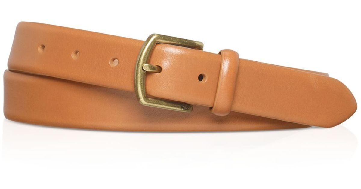 ralph polo leather dress belt in metallic for