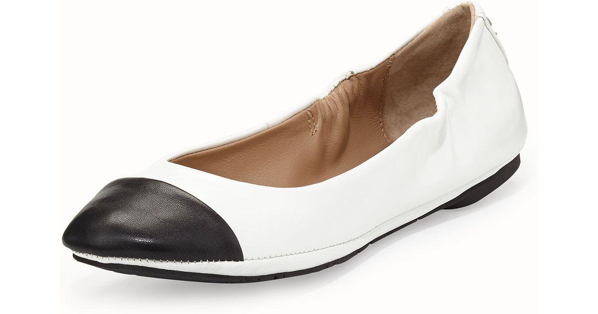 02c66ee7398 Lyst - Delman Blair Cap-toe Ballet Flat in Black