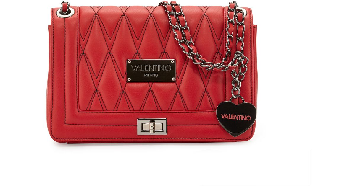 48292c32a9 Valentino By Mario Valentino Alice D Quilted Leather Shoulder Bag in Red -  Lyst
