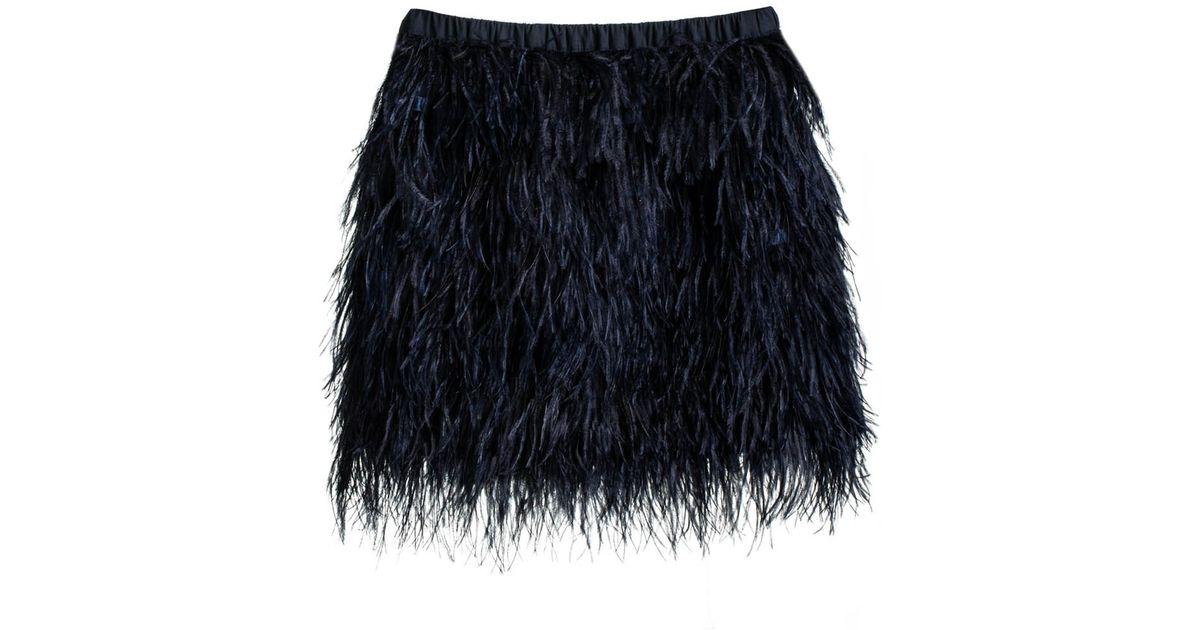 08558e7dada2 Lyst - Cynthia Rowley Feather Skirt in Black