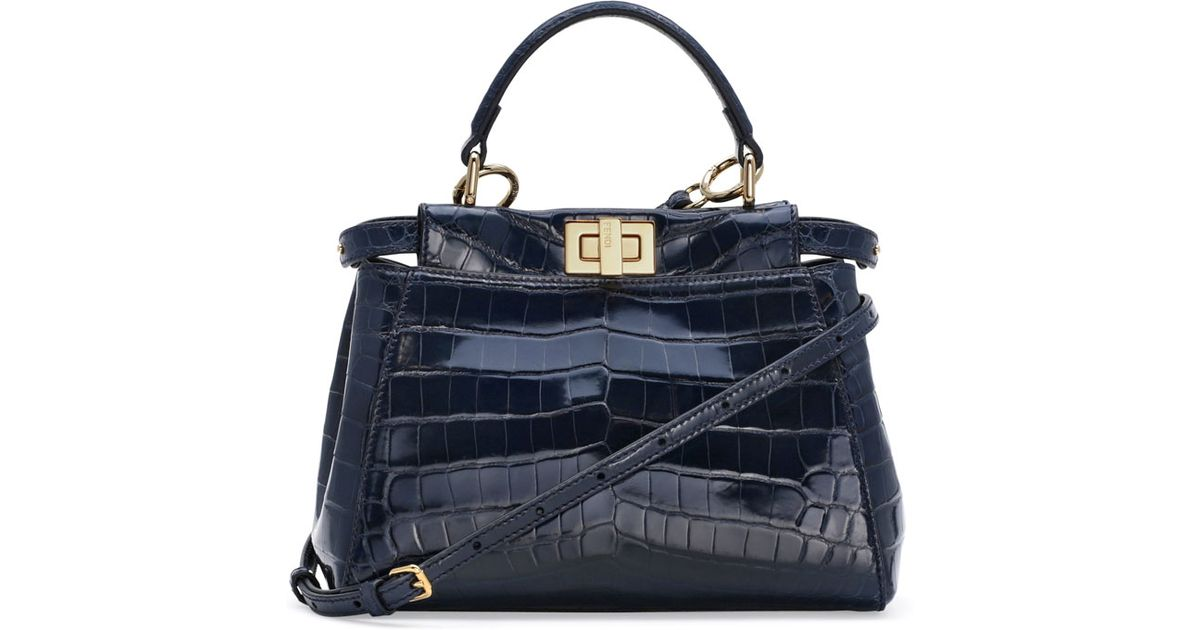 23fd0c418677 Fendi Peekaboo Crocodile Mini Satchel Bag in Blue - Lyst