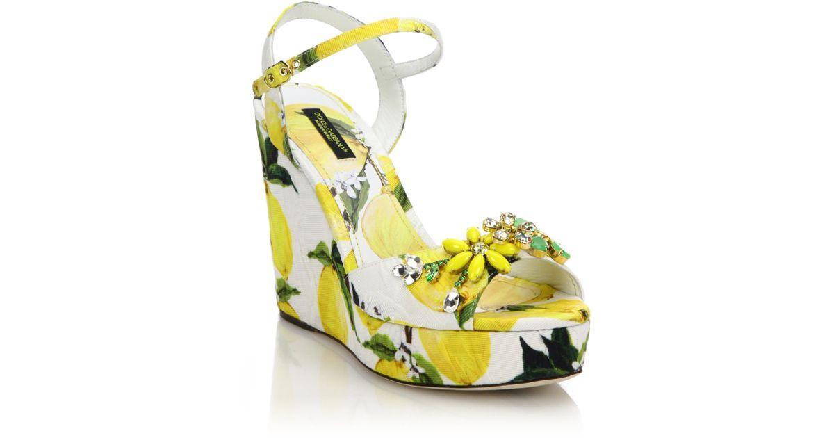 Lyst - Dolce   Gabbana Embellished Lemon-print Brocade Platform Wedge  Sandals 115749183b043