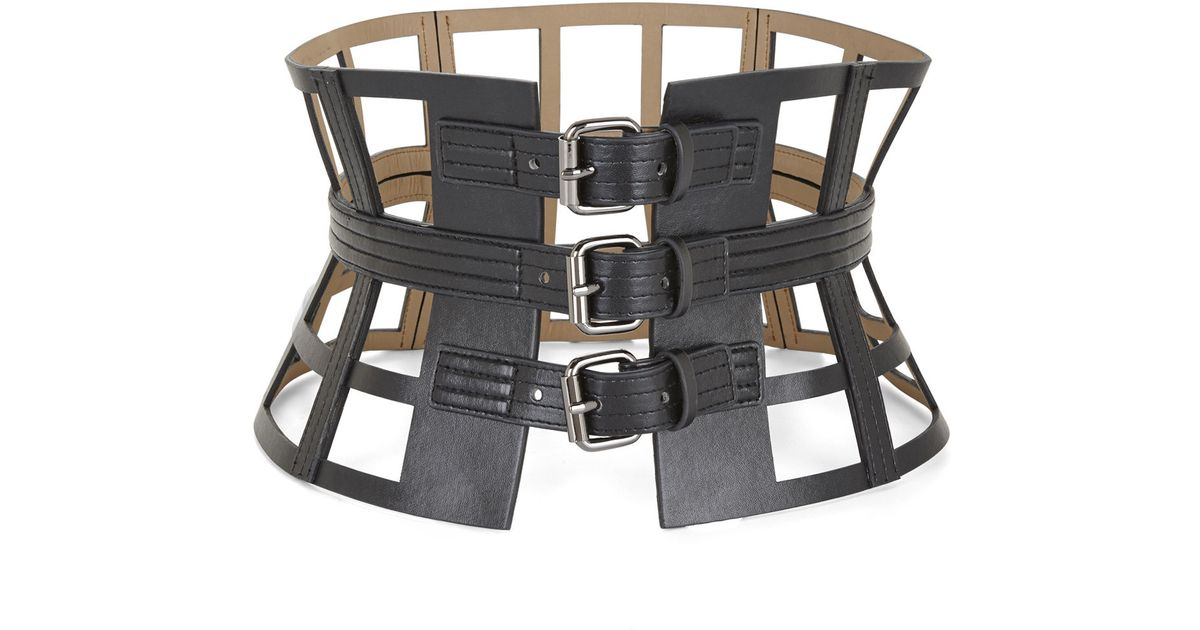 4a8338eba9 Lyst - BCBGMAXAZRIA Grid Cutout Corset Waist Belt in Black