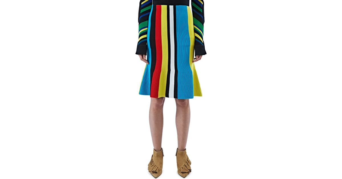 662f5d27a JW Anderson Women's Ottoman Striped Knit Skirt In Blue, Yellow And Red in  Blue - Lyst