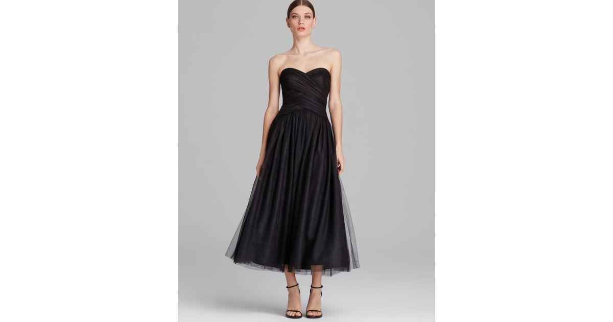 Black Tulle Tea Length Dress
