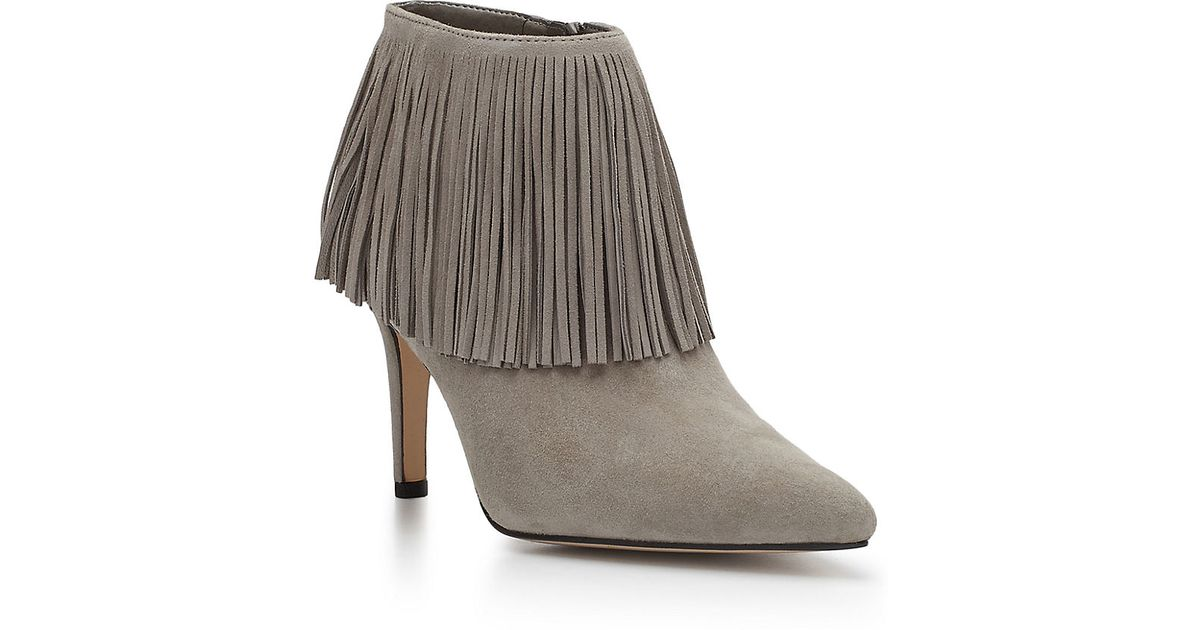 af876c9885eb Sam edelman Kandice Fringed Suede Ankle Booties in Gray