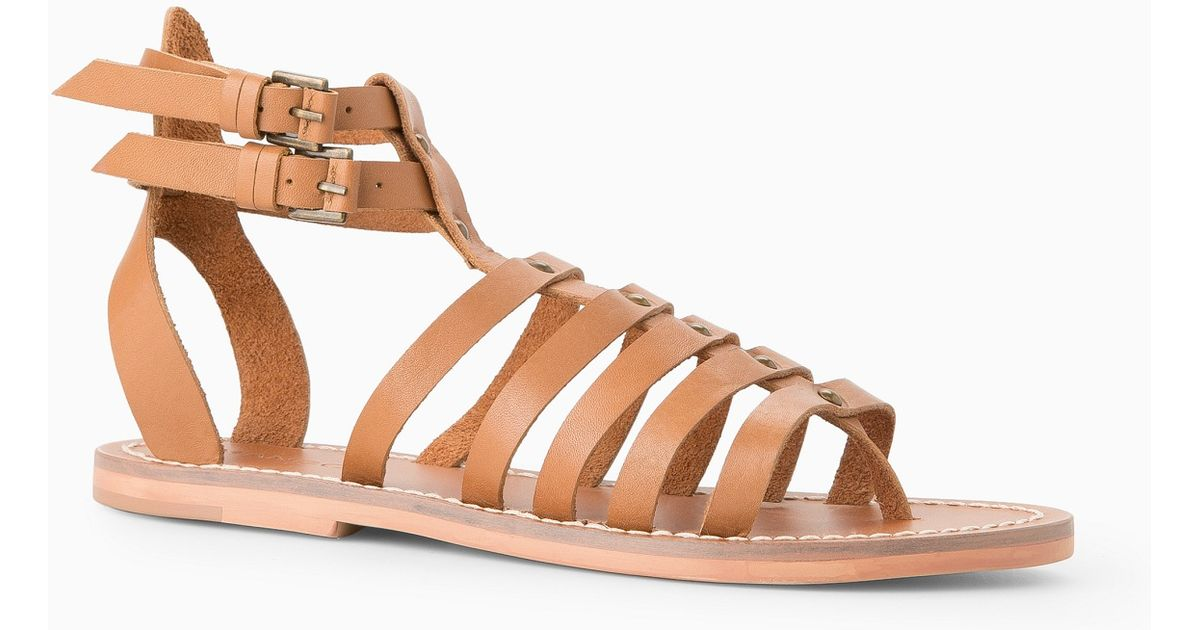 ea2dc6946fb Lyst - Mango Leather Gladiator Sandals in Brown