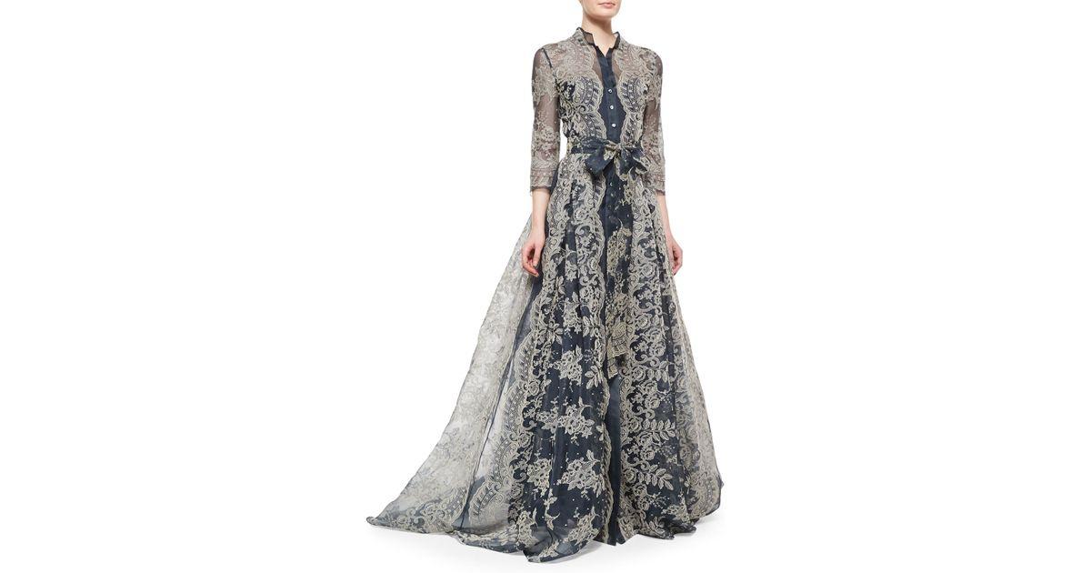 Lyst Carolina Herrera Lava Print Fit And Flare Dress In Gray