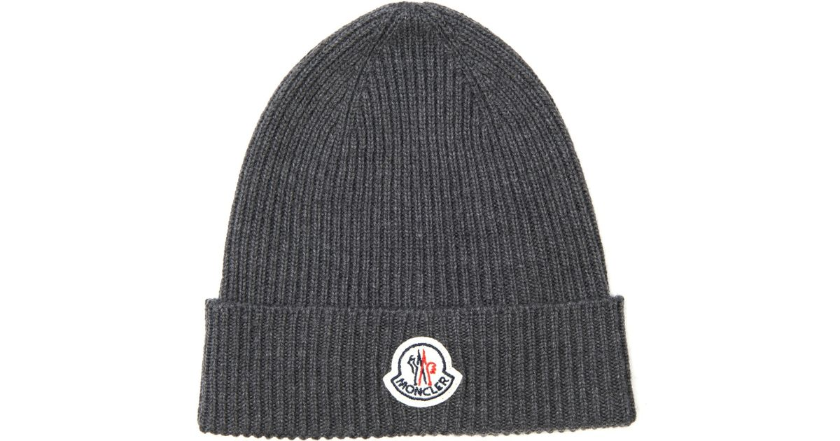 dd79e66d1ec Moncler Ribbed-Knit Wool Beanie Hat in Gray for Men - Lyst