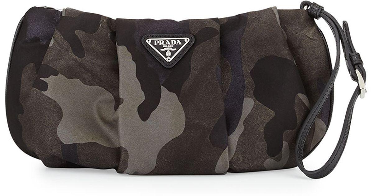 Prada Tessuto Camouflage Wristlet Bag in Gray (Gray Multi (Fumo ...