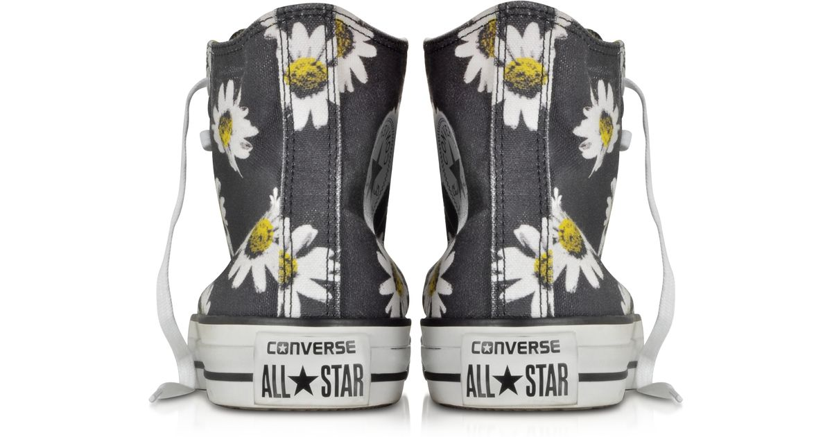 fd45f11986f1 Converse Chuck Taylor All Star Black And Citrus Daisy Printed Canvas High  Top Sneaker in Black - Lyst
