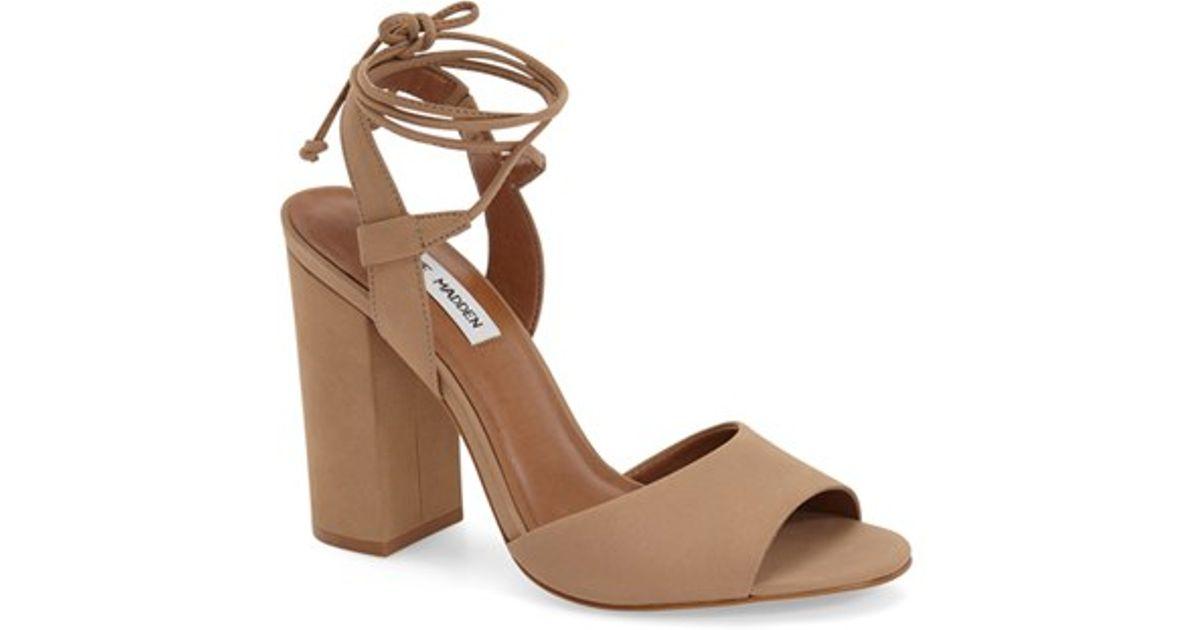 Lyst - Steve Madden  serrina  Block Heel Lace Up Sandal in Brown