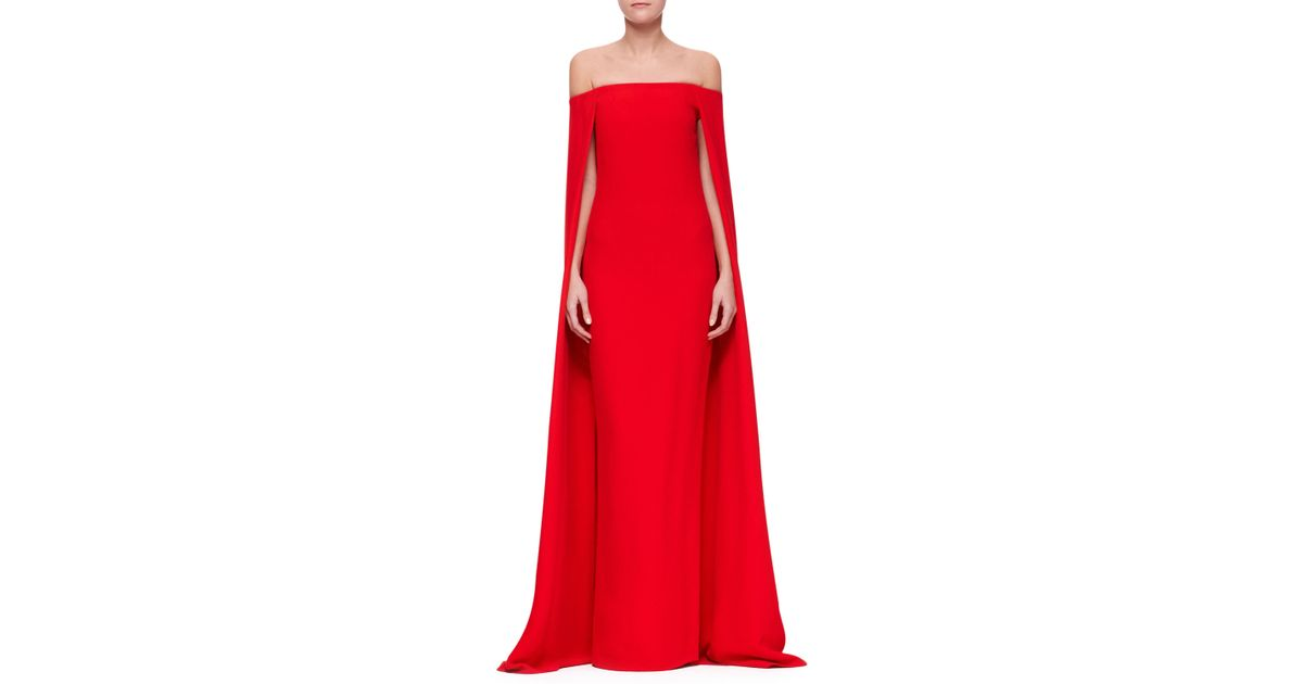 Lyst - Ralph Lauren Collection Audrey Cape Evening Gown in Red