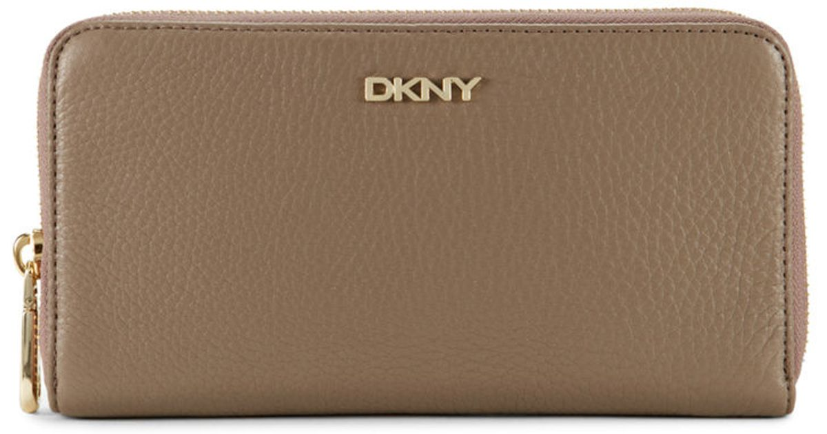 18e10ed5a464 Lyst - Dkny Tumbled Leather Zip Around Wallet in Brown