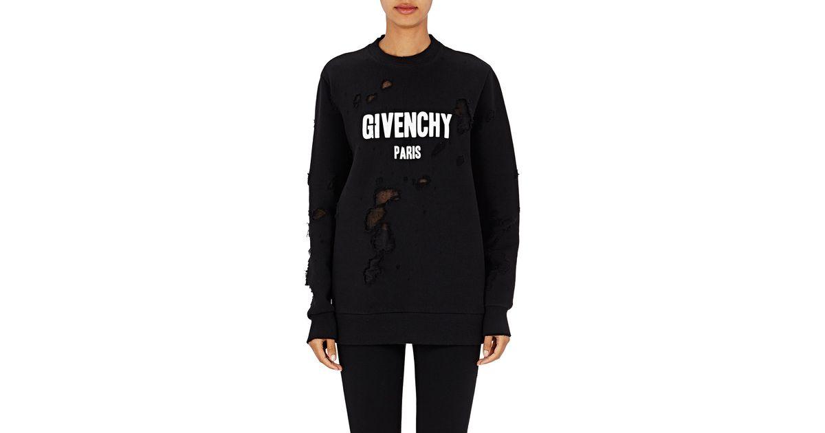 Lyst - Givenchy Paris Destroyed Sweatshirt in Black 2d630ea38c16