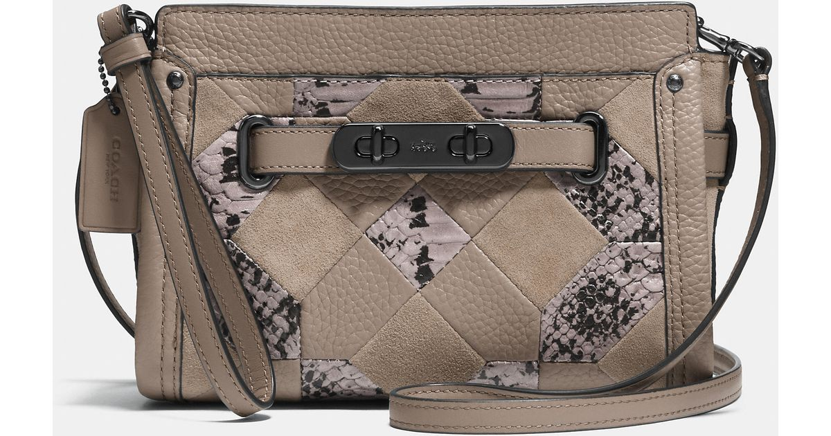 6f4604aded6 Lyst - COACH Swagger Wristlet In Patchwork Exotic Embossed Leather in Gray