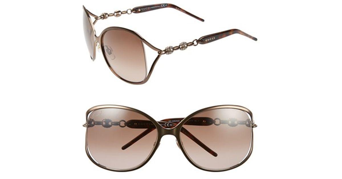 71367e8803 Lyst - Gucci  marina Chain  60mm Swarovski Crystal Sunglasses - Bronze in  Brown