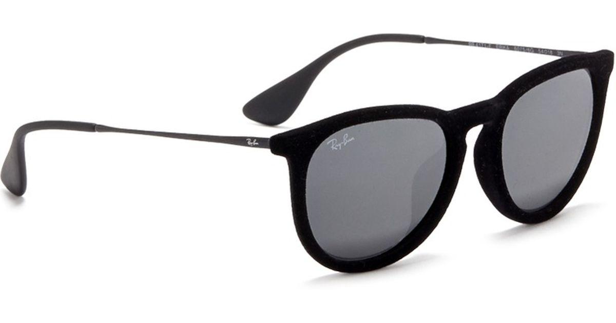 04a74822dce98 canada ray ban erika velvet wire rim mirror sunglasses in black lyst 0e29e  dcdc1