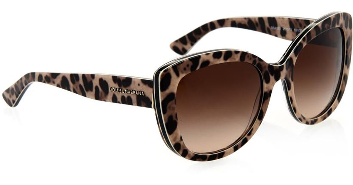 b1d61cf96b8 Dolce   Gabbana Leopard-Print Cat-Eye Sunglasses - Lyst