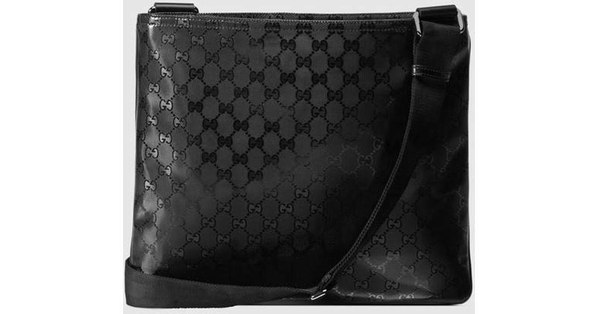 c71da864ae9 Lyst - Gucci Gg Imprimé Messenger in Black for Men
