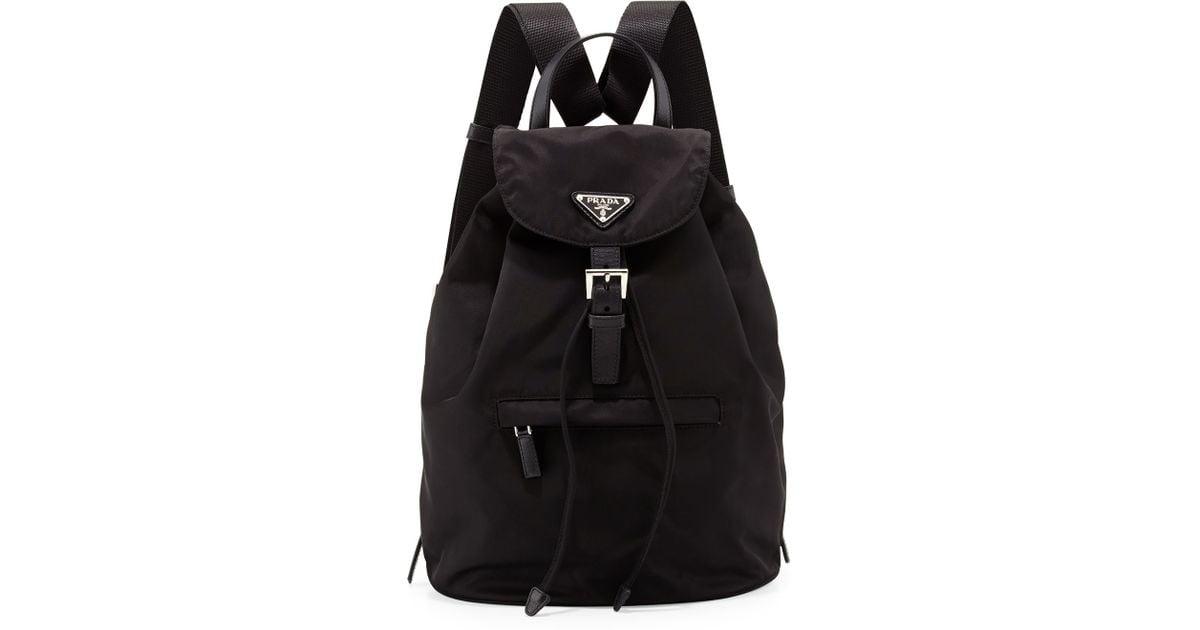 Prada Vela Medium Backpack in Black (BLACK(NERO)) | Lyst