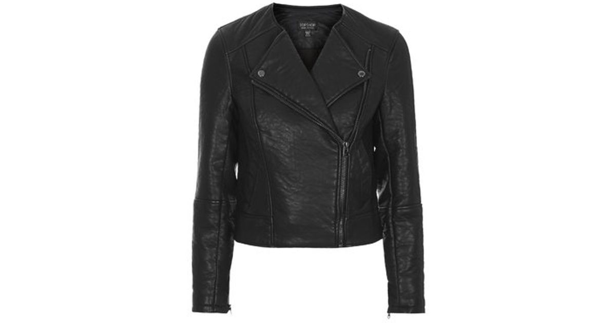 Good Prices get new detailing TOPSHOP Black Petite Faux Leather Collarless Biker Jacket