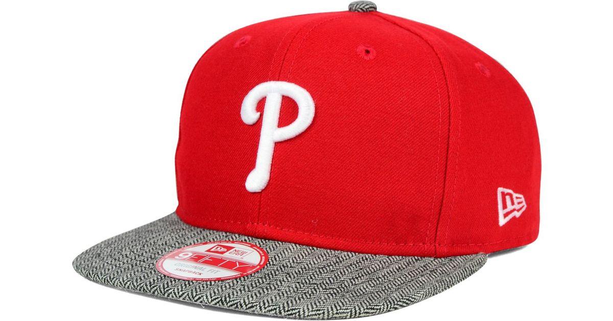 f0363726bd7 Lyst - Ktz Philadelphia Phillies Premium 9fifty Snapback Cap in Red for Men