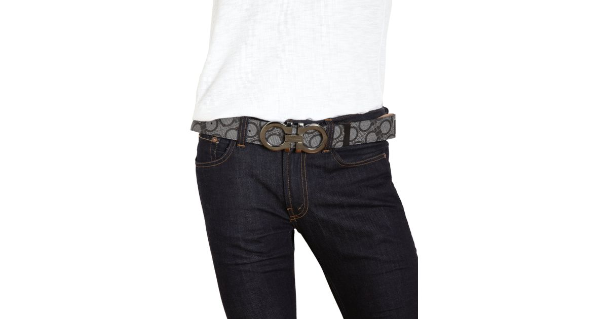 4e15897d5d6 Lyst - Ferragamo Coated Canvas   Leather Gancini Belt in Black for Men